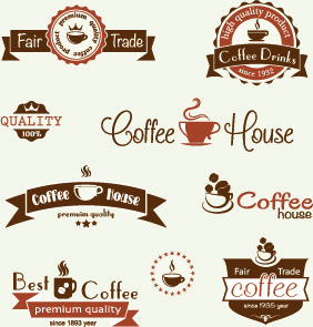 modern coffee label vector set