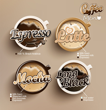 modern coffee labels with elements vector
