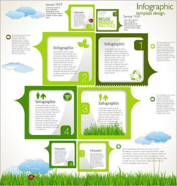 modern ecology infographics green template vector