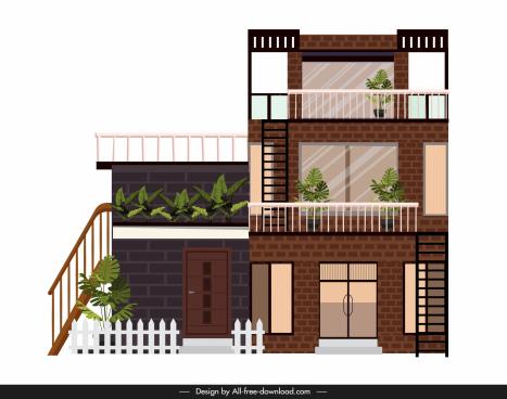 modern house template three storeys sketch