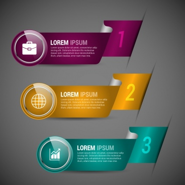 modern infographic templates colorful curved ribbon style