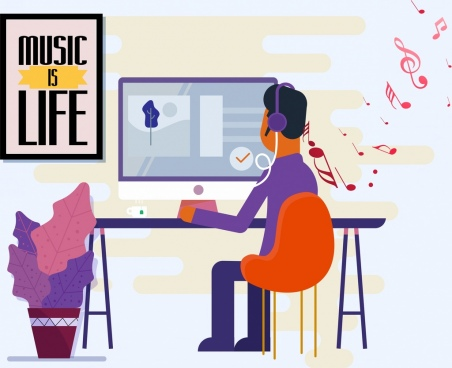 modern lifestyle painting man music note computer icons