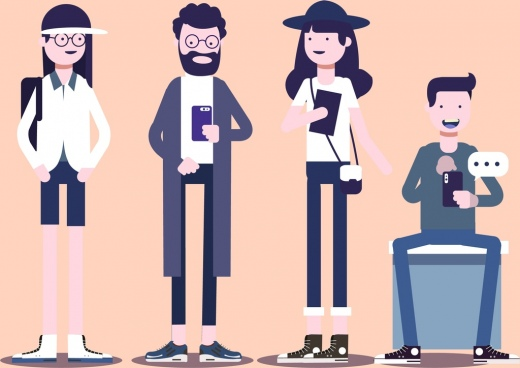 modern people icons cartoon characters