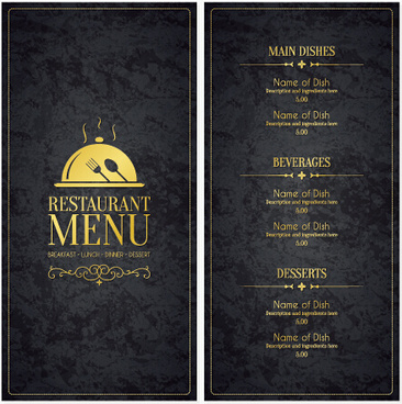 modern restaurant menu cover and list vector