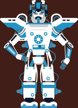modern robot icon blue white design