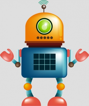 modern robot icon colorful shiny design