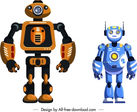 modern robot icons shiny humanoid sketch
