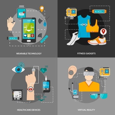 modern smart technologies illustration with icons isolation style