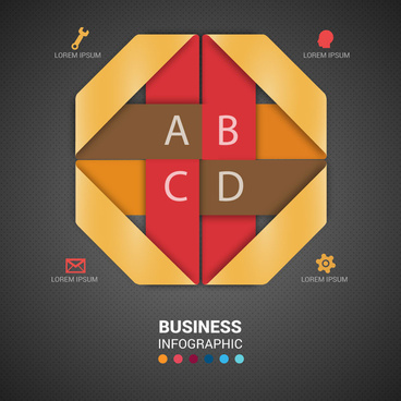 modern style business infographic with 3d origami design