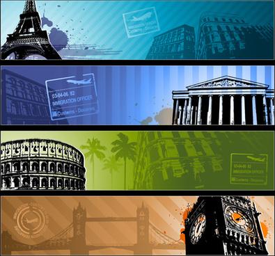 modern travel background set