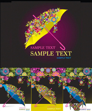 modern umbrella decorative pattern background vector graphic