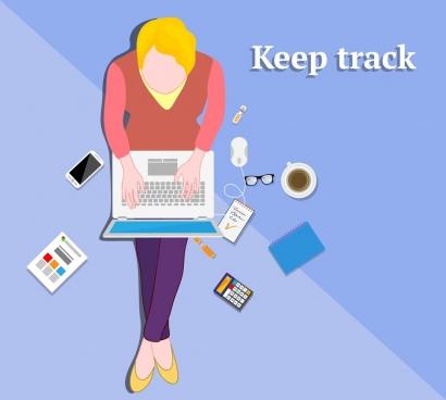 modern work banner human laptop icons cartoon design