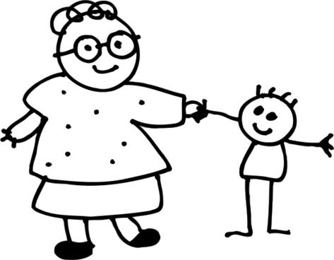 Mom holding childs hand - outline