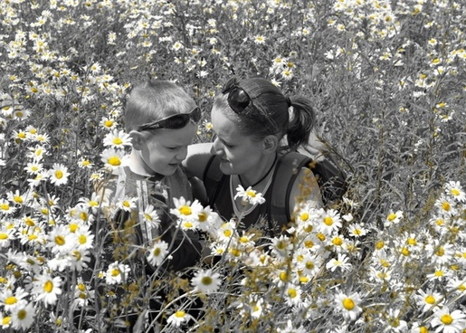 mom son and flowers