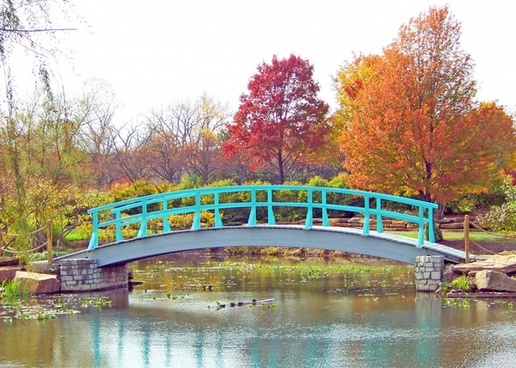 monet bridge in park in autumn
