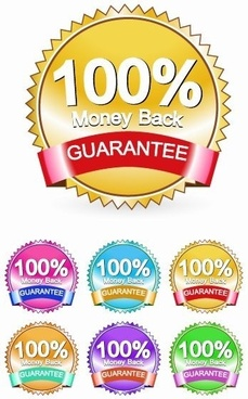 Money Back Guarantee Label Vector Set