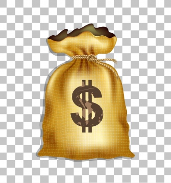 money bag icon shiny golden design classical type