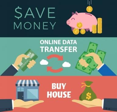money conceptual banner savings transfer trading icons