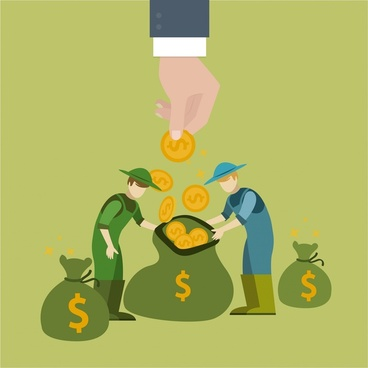money earning concept illustration with workers and coins