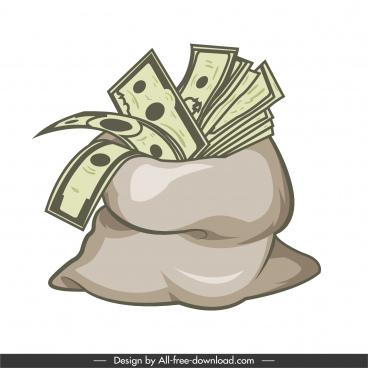 money sack icon retro design