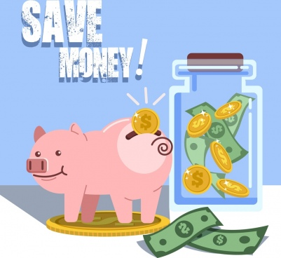 money savings banner piggy bank money jar icons