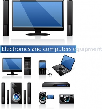 electronic appliance icons shiny modern design