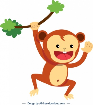monkey animal icon cute cartoon sketch