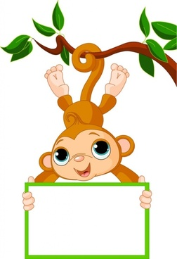 monkey cartoon image 02 vector