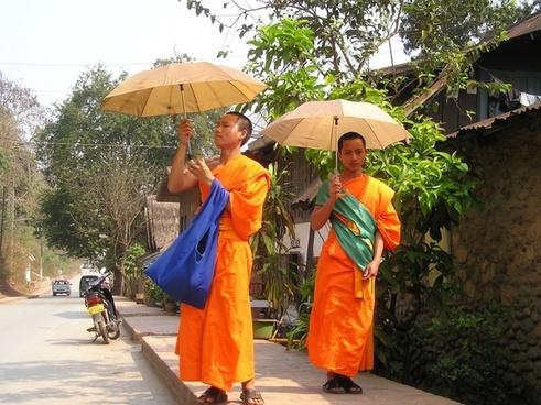 monks buddhists orange