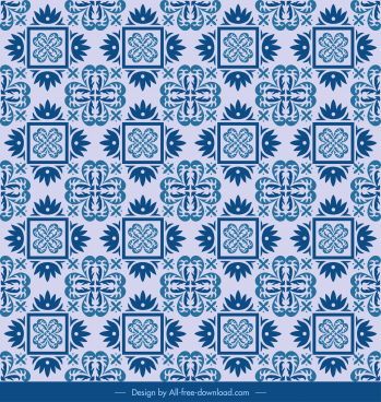 monochrome pattern blue flat repeating classical symmetric decor