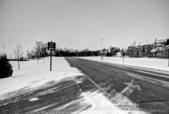 monochrome roadway in sturgeon bay wisconsin