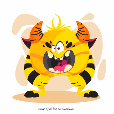 monster character icon cartoon design funny sketch