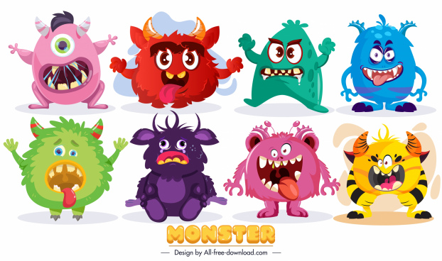 monster characters icons cute funny cartoon sketch