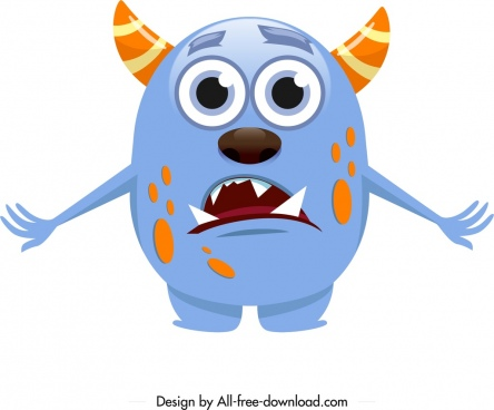 monster icon cartoon character colorful horny sketch