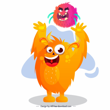 monster icon funny joyful sketch cartoon character