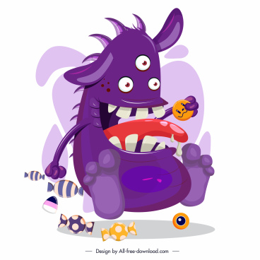 monster icon funny multieyes cartoon character sketch