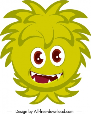 monster icon green face sketch funny cartoon character