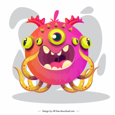 monster icon multieyes octopus shape colored cartoon design