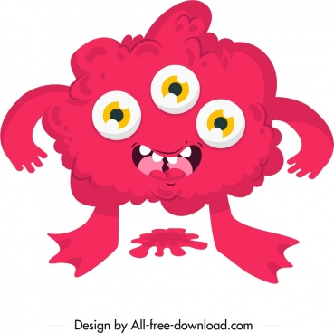 monster icon red multi eyes sketch cartoon character