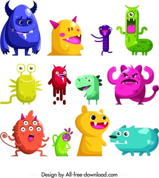 monster icons collection colored cartoon characters design