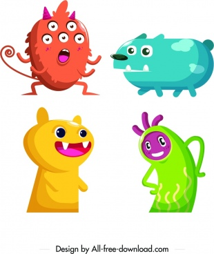 monster icons colored cartoon characters funny design