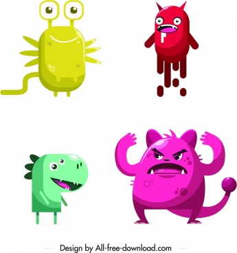 monster icons funny colored cartoon characters
