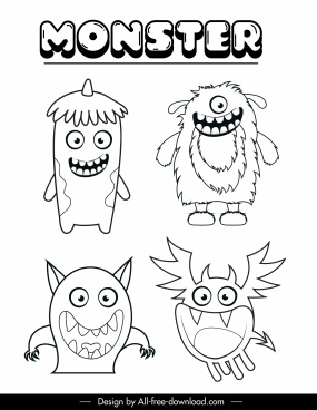 monsters ghosts icons funny cartoon characters sketch