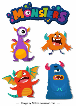 monsters icons colorful funny cartoon characters animals shapes