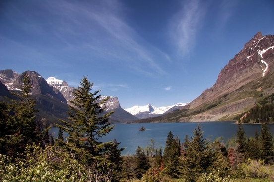 montana glacier national park lake