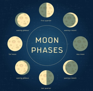 moon phases icons circle objects isolation