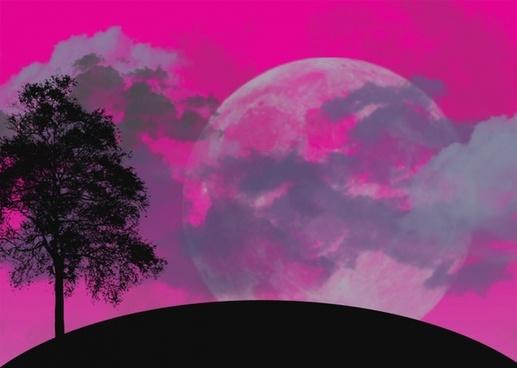 moon tree landscape