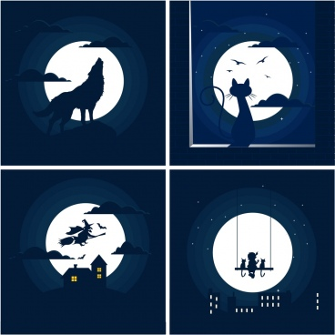 moonlight background sets dark blue design various symbols