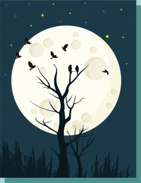 moonlight landscape theme silhouette light effect decoration