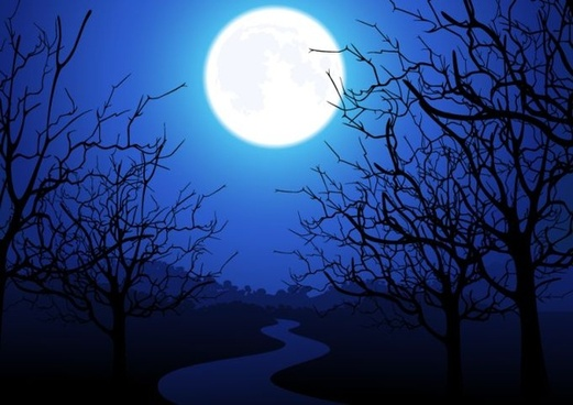 moonlight landscape drawing colored 3d design